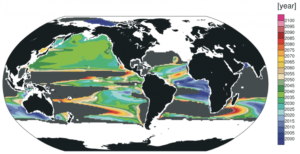 "The recent modeling study projected when current high rates of climate pollution would cause oxygen declines to become evident. Credit: Long et al., ""Finding forced trends in oceanic oxygen,"" Global Biogeochemical Cycles, 2016."
