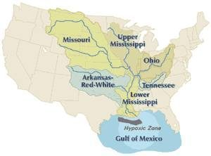 The major agricultural regions of the U.S. feed the Mississippi River and contribute to the Gulf of Mexico's hypoxic zone. New research shows that the hypoxic zone could be significantly reduced and with less bare soil and more perennial crops. Image: EPA