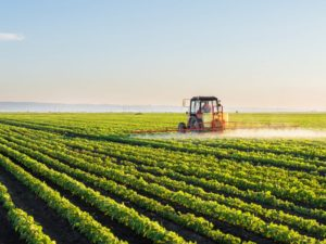 A tractor sprays a soybean field. Credit: iStock.com/fotokostic