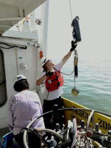 Scientists Nancy Rabalais and Matt Kupnick deploy an oxygen meter to measure oxygen concentrations within 1 foot of the seabed in the Gulf of Mexico. Rabalais has led the team measuring oxygen concentration in the bottom waters at more than 100 stations on 32 research cruises since 1985. Photo Credit: R. Eugene Turner, LSU
