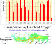 Graph and map showing dissolved oxygen levels