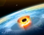About 66 million years ago, an asteroid more than 10 kilometers wide struck Earth, as seen in this artist's rendering. The impact did more than bring an end to the reign of the dinosaurs. According to new research, it also ushered in a period of rapid global warming that helped deplete oxygen from vast stretches of the oceans. Credit: Mark Garlick/Science Photo Library/Getty Images
