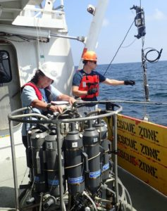 Lead researcher Nancy Rabalais (left) works with a team member Friday to measure the Gulf of Mexico dead zone off the Louisiana coast. [National Oceanic and Atmospheric Administration]