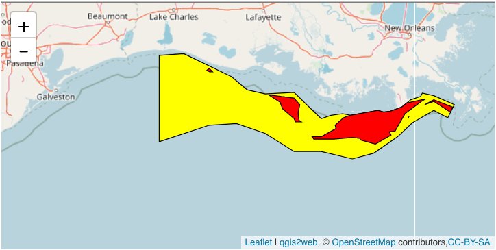 The Gulf Dead Zone in 2018 The red area denotes water with less than 2 milligrams per liter of oxygen, the operational definition of hypoxia. The yellow area is anything between 2 mg/l and up to 9 mg/l in shallow water.